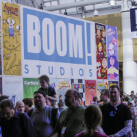 Boom Studios / Archaia had a large display on the 4th floor skybridge.