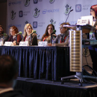 Susan Eisenberg shares her experience with the Emerald City panel audience.