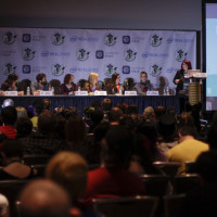 N4AL's Wendy Buske moderates the How to be a Nerd for a Living panel.