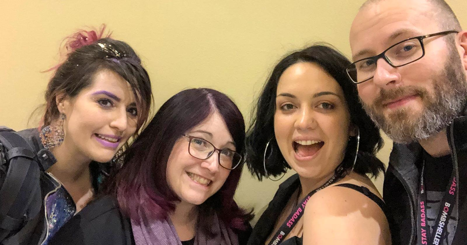 Jaimie Cordero (Espionage Cosmetics), Wendy Buske (Nerd For A Living), Jazzlyn Stone (Bombsheller), and Adron Buske (Fictitious)