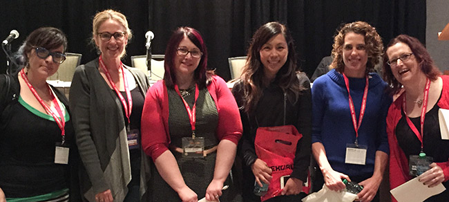GeekGirlCon panelists Jaimie Cordero, Susan Eisenberg, Wendy Buske, Jina Heverley, Heidi Gaertner, and Rebecca Hicks