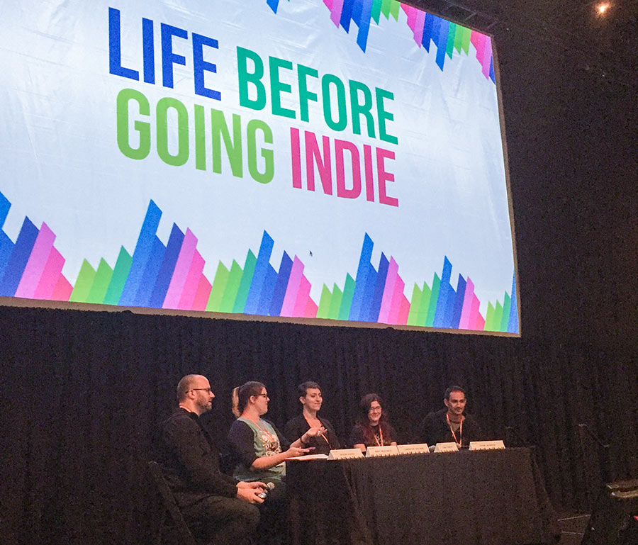 PixelPop Festival 2016 - Life Before Going Indie Panel - moderated by Nerd For A Living's Adron Buske. Photo by Gene Kelly