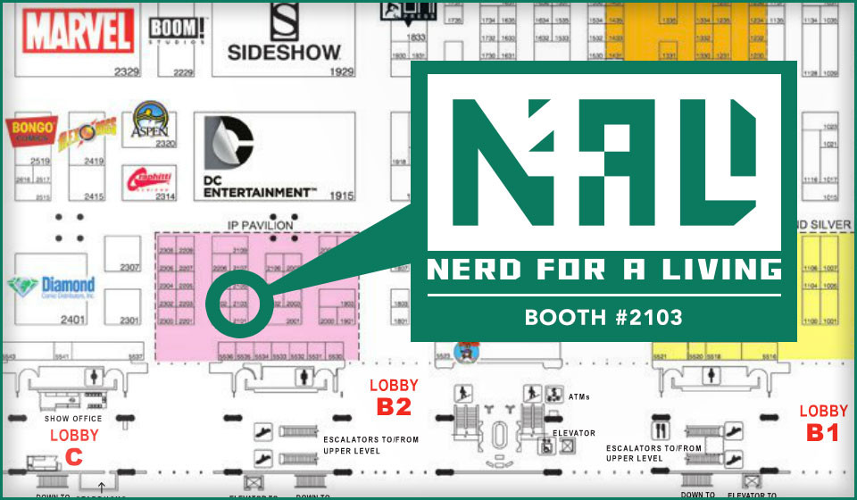 Nerd For A Living on the San Diego Comic-Con floor at booth 2103