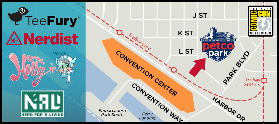 Map to PetCo Park for the TeeFury booth at Nerdist CONival