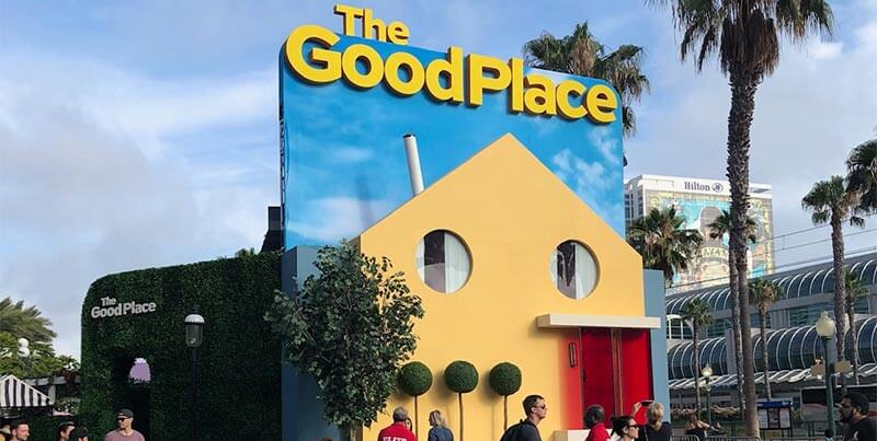 NBC's The Good Place appeared across the street from the convention center