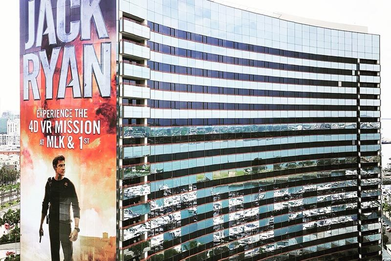Amazon Prime's Jack Ryan wraps the entire height of the San Diego Marriott hotel.