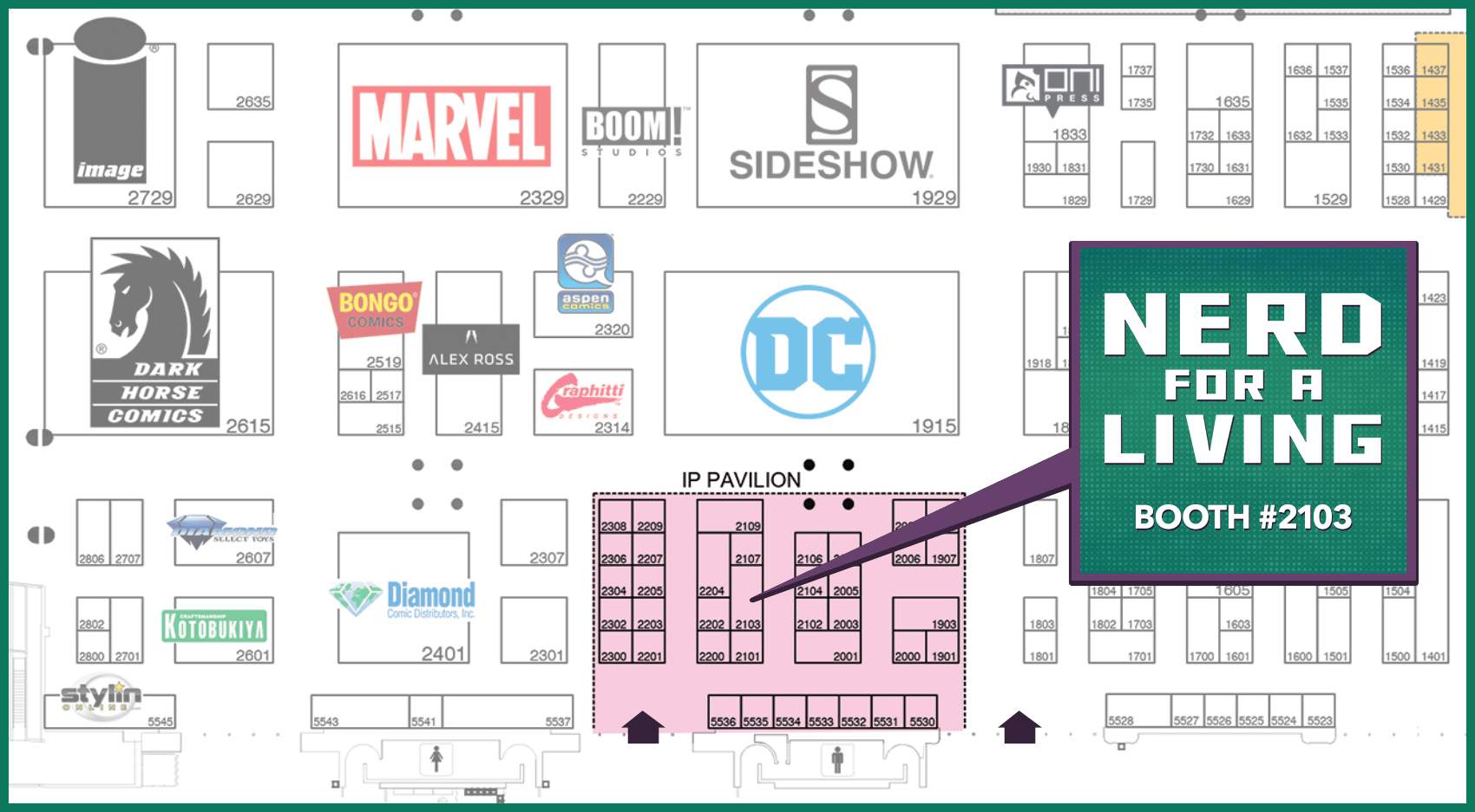 San Diego Comic Con Floor Map - Nerd For A Living at Booth 2103